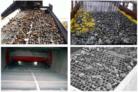 Woven, polyurethane, self-cleaning and perforated vibrating screen mesh application.