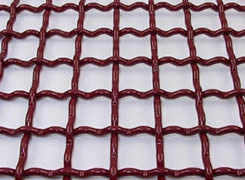 A Piece of Single Wire Crimped Type of Woven Vibrating Screen Mesh in Red Color.